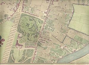 Villa Welgelegen - Situation map of Welgelegen in 1827.