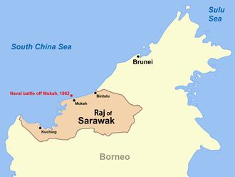 Battle off Mukah - A map of Sarawak showing the location of the naval battle off Mukah in 1862.