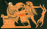 An ancient Greek painting of a man in armor charging a throne where another man is seated