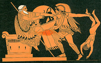 Nicomachean Ethics - Neoptolemus killing Priam. Aristotle accepted that it would be wrong to call Priam unhappy only because his last years were unhappy.