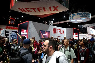 Netflix's booth at the 2017 San Diego Comic-Con Netflix booth (36079051696).jpg