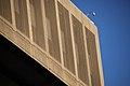 Netting along two upper floors on 10th Street NW - SW corner - J Edgar Hoover Building - Washington DC - 2012.jpg