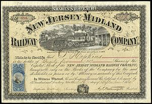 Stock certificate - Image: New Jersey Midland Railway Co 1872