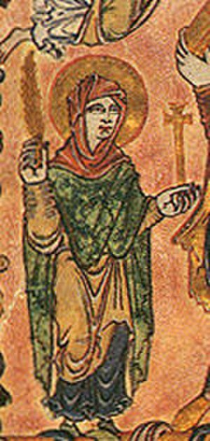 Anglo-Saxon dress - The Virgin Mary in Anglo-Saxon dress, New Minster Charter, 966