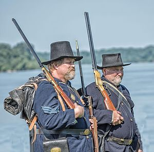 Newburgh Raid - Civil War re-enactors portray the Newburgh Raid in July 2016