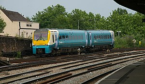 Newport railway station - 175005 departs with an Arriva Trains Wales service along the Welsh Marches Line.
