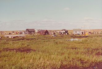 Newtok, Alaska - Houses in the south of Newtok, 1974