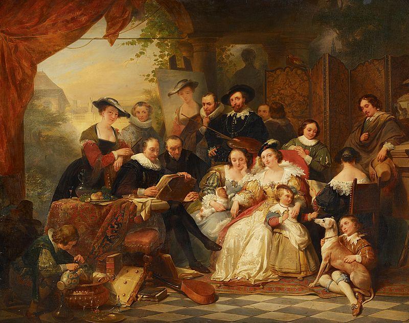 Nicaise de Keyser Rubens im Kreis seiner Mäzene und Familie 1842.jpg