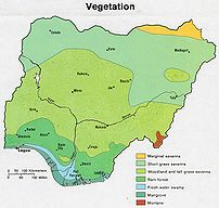Map of vegetation in Nigeria
