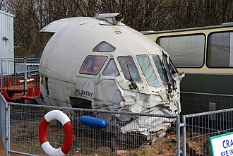 1995 Royal Air Force Nimrod R1 ditching - The salvaged cockpit of XW666