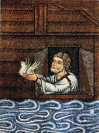 Noah - 12th-century Venetian mosaic depiction of Noah sending the dove