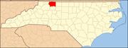 Map of North Carolina highlighting Surry County