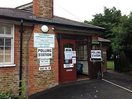 A polling station in north London North London polling station June 2017 election 01.jpg