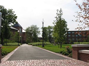 North Park University - The green space at the center of North Park's campus. The building in the distance is Brandel Library.