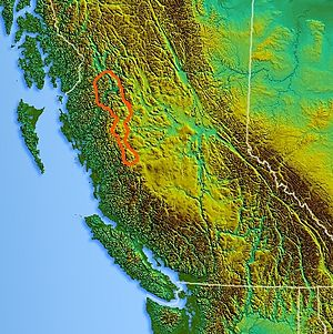 Hazelton Mountains - Image: Northwest relief Hazelton Mountains