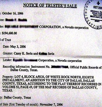 English: Notice of Trustee's Sale, Foreclosure...