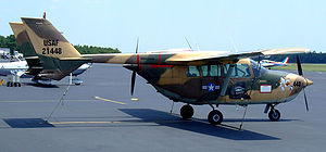 Cessna O-2 Skymaster - Cessna 337 painted as an O-2 on the ground in New Jersey, 2008. Note the 337 has propeller spinners.