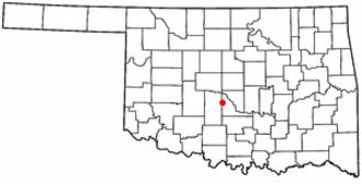 Blanchard, Oklahoma - Image: OK Map doton Blanchard
