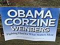 Obama Corzine Weinberg campaign sign 2009.JPG