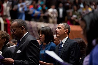 African Methodist Episcopal Church - Image: Obamas at church on Inauguration Day 2013