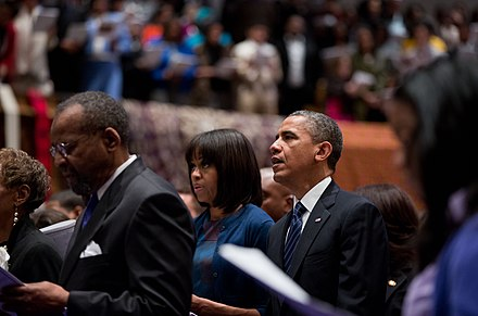 The Obamas worship at African Methodist Episcopal Church in Washington, D.C., January 2013 Obamas at church on Inauguration Day 2013.jpg