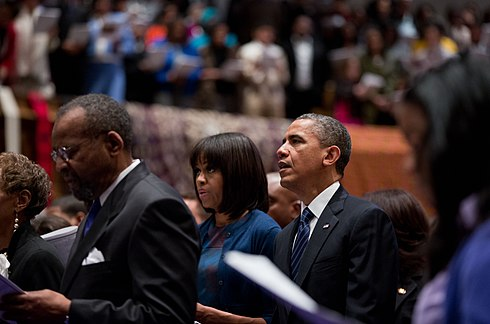 The Obamas attend a church service in Washington, D.C., January 2013. Obamas at church on Inauguration Day 2013.jpg