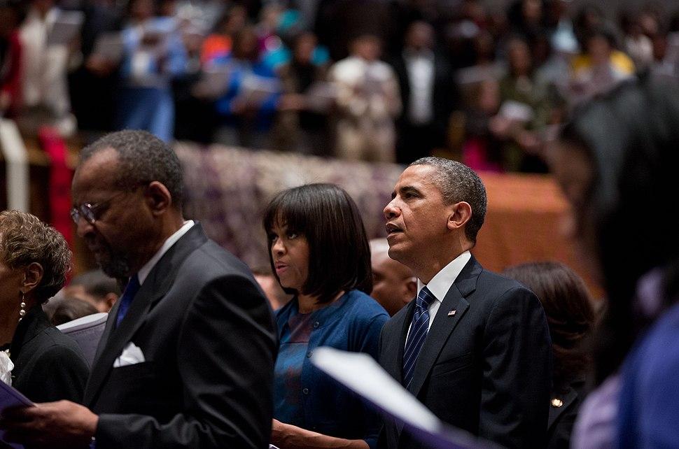 Obamas at church on Inauguration Day 2013
