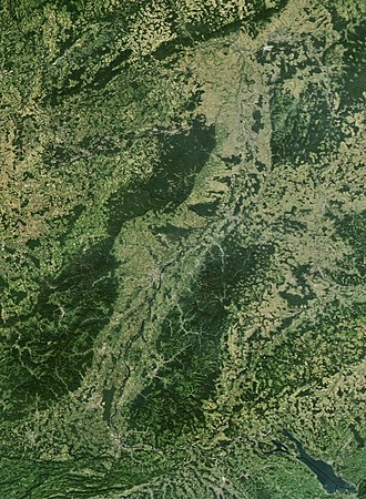 Upper Rhine -  Satellite View of the Upper Rhine Valley and the upper Rhine; on the top left are the Rhenish Slate Mountains; on the bottom right Lake Constance