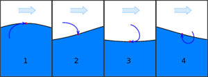 Swell (ocean) - The phases of an ocean surface wave: 1. Wave Crest, where the water masses of the surface layer are moving horizontally in the same direction as the propagating wave front. 2. Falling wave. 3. Trough, where the water masses of the surface layer are moving horizontally in the opposite direction of the wave front direction. 4. Rising wave.