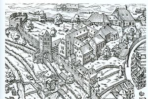 Oetenbach nunnery - Oetenbach at the Lindenhof hill on the so-called Murerplan map of 1576.
