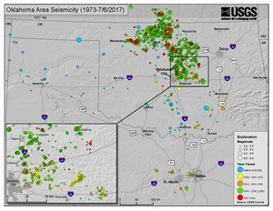 Map of earthquakes greater than 3.0 magnitude