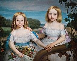 Portrait d'Olympe et Flore Chauveau (1851-1852), filles du premier ministre québécois Pierre-Joseph-Olivier Chauveau, par Théophile Hamel (collection du musée national des Beaux-Arts du Québec). (définition réelle 10389×8246)