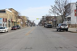 Looking west at downtown Omro on Hwy 21