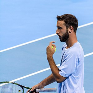 Nikola Milojević (tennis) - Image: Open Brest Arena 2016 Benneteau Milojevic 06