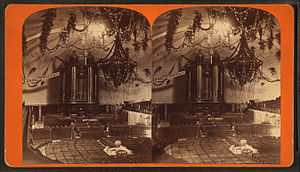 Pioneer Day (Utah) - The interior of the Salt Lake Tabernacle as decorated for the Deseret Sunday School Union's July 1875 Pioneer Day celebration.