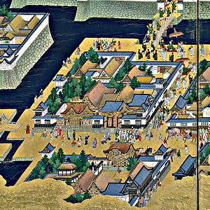 Ōtemachi - View of a part of Ōtemachi as depicted in the Edo-zu byōbu screens (17th century CE)