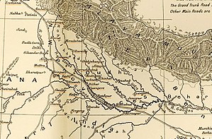 Massacre of Benares - Oudh, on an 1857 map