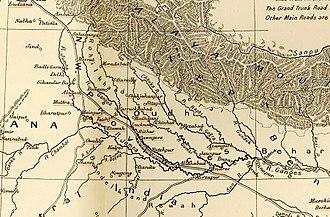Massacre of Benares - Oudh, on an 1857 map