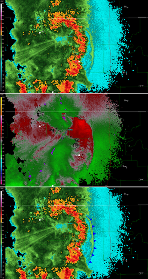 Outflow boundary - Outflow boundary on radar with radial velocity and frontal boundary drawn in.