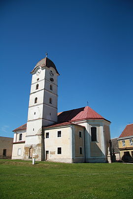 Overview of Church of Saint Michael in Želetava, Třebíč District.JPG
