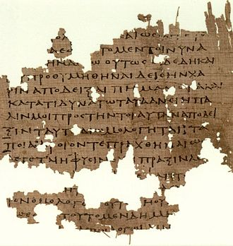 Noble lie - P. Oxy. 3679, manuscript from the 3rd century AD, containing fragments of Plato's Republic.
