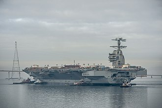 A1B reactor - The aircraft carrier Pre-Commissioning Unit (PCU) Gerald R. Ford (CVN-78) is moved to Pier 3 at Newport News Shipbuilding. The ship will undergo additional outfitting and testing for the next 28 months.