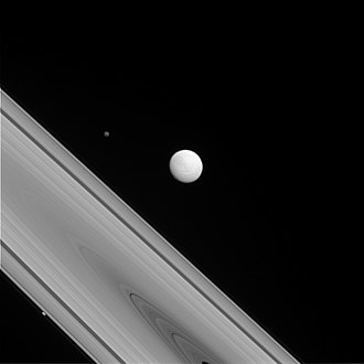 Rings of Saturn - Tethys, Hyperion and Prometheus