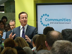 English: David Cameron speaking at Eland House...