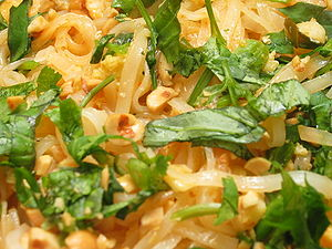 Rice noodles - Closeup of pad Thai, a Thai dish made from rice noodles