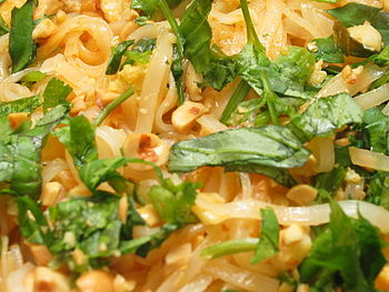 Closeup of pad Thai, a Thai dish made from ric...