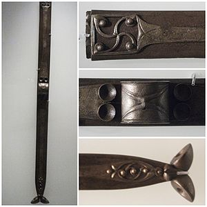 Scabbard - An elaborate Celtic scabbard of 1-200 AD, in two colours of bronze