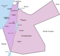 The British Mandate for Palestine. The Emirate of Transjordan is shown in brown.