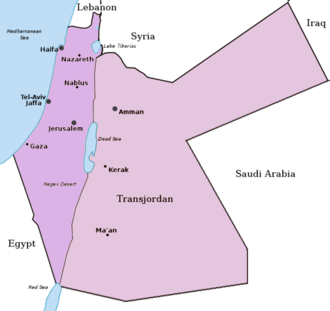 Partition of the Ottoman Empire - Mandatory Palestine and the Emirate of Transjordan.