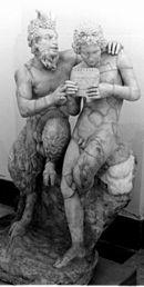 Kır ve Çobanlar tanrısı Pan, öğrencisi Daphnis'e Syrinks çalmayı öğretirken